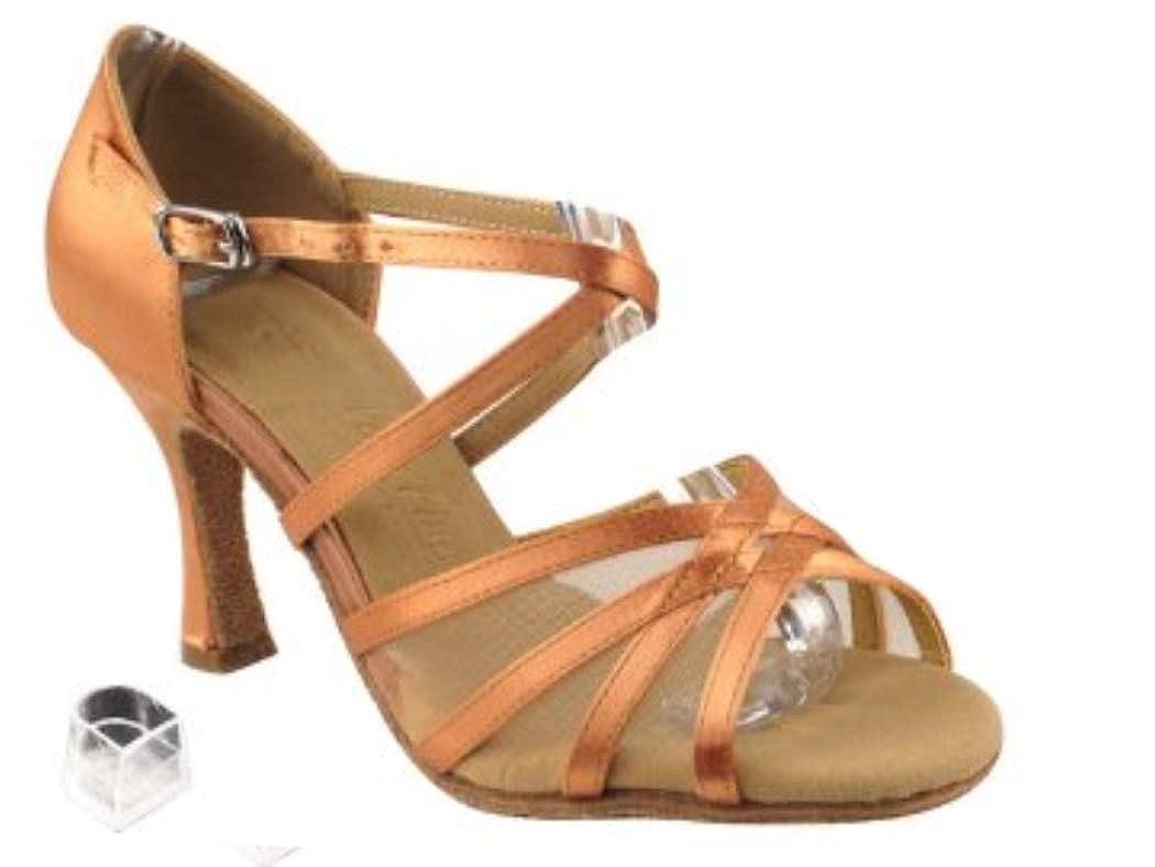 レディースレディース社交ダンス靴Very Fine eksa1605 Sera 2.5 CMヒール、ヒールプロテクター B00FMMMMUW Tan Satin & Flesh Mesh 8.5 B(M) US