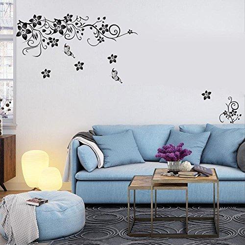 1pcs adesivi murali fiori fioriture loto parete plum caratteri cinesi dcorazione vinile - Decorazioni sui muri ...