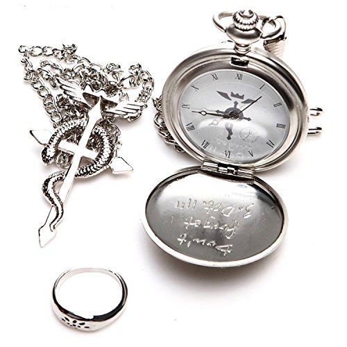 Cosplay Pocket Watch (Topwell Full Metal Alchemist Pocket Watch Necklace Ring Edward Elric Anime Cosplay Gift)