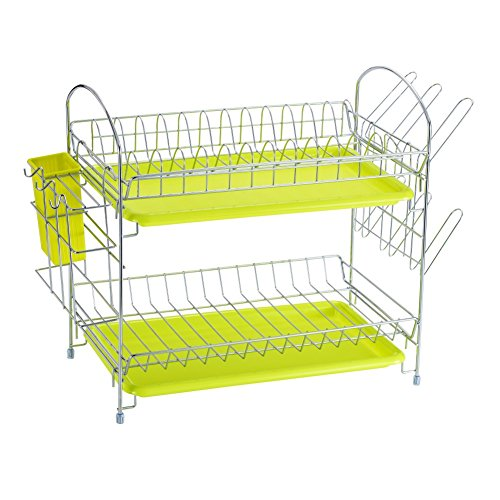Dish Drying Rack Kitchen. Updated Version 2 Tier Dish Drainer Rack 19 inch Buckle Type Installation not Need Nuts Double Draining Tray Design Effectively Prevent Cross-Contamination. by WORTOOL (Image #1)