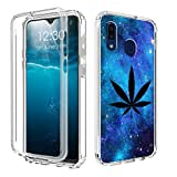 Galaxy A20 Case,Galaxy A30 Phone Case,Amook Shockproof Hybrid Clear Dual Layer Hard PC+Soft TPU Bumper 2 in 1 Protective Case for Samsung Galaxy A20/A30 6.4 Inch 2019- Galaxy Space Weed