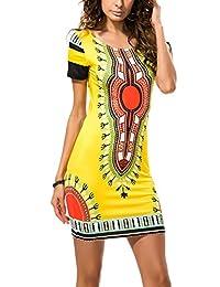 YACUN Women's Elastic Printed Mini Boho Bodycon Dress