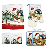 rooster pots - Cotton Printed Kitchen Dish Towels, Pot Holder and Oven Mitt, Set of 8 for Cooking, Baking, Housewarming, Host/Hostess, Wedding Registy, Mother's Day Gifts-Garden Rooster