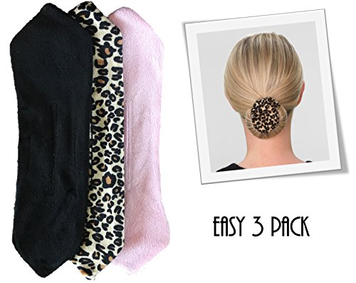 Beverly Hills Hair Twist One Minute Hair Bun Maker-Stylish Updos, French Twists and Your Favorite Bun Styles-Includes 3 Stay Put Plush Fashion Accessories (Black, Leopard, Pink) with Style Guide