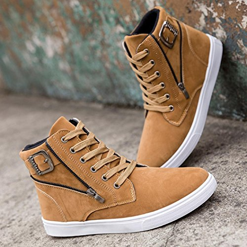 LHWY Herren Sneaker Schuhe, Mode Warme Stiefel Schuhe Top Britischen Casual Schuhe Frühling Winter Männer IM Freien Flache Schuhe Gelb