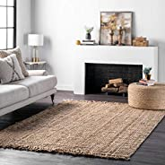 "nuLOOM Natura Collection Chunky Loop Jute Area Rug, 7' 6"" x 9'"