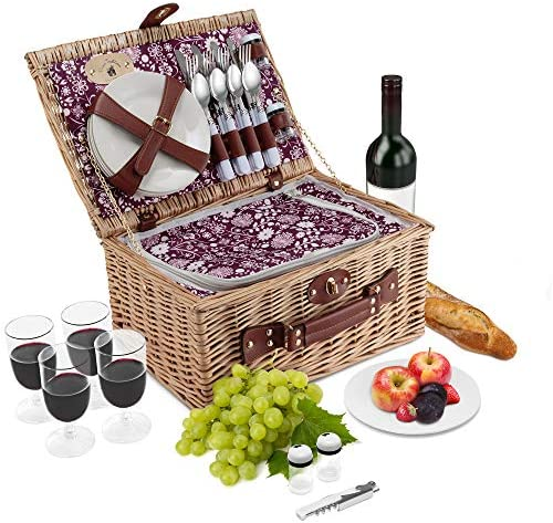 Wicker Picnic Basket Set 4 Person Deluxe Vintage Style Woven Willow Picnic Hamper Built-in Cooler Ceramic Plates, Stainless Steel Silverware, Wine Glasses, S P Shakers, Bottle Opener Natural