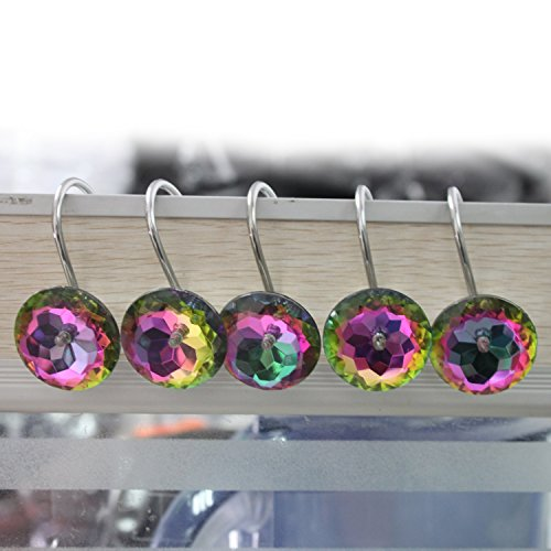 UPC 718399482689, Shower Curtain Hooks Diamond Shape Shower Rings/Round Acrylic Decorative Rhinestones Bling Rolling Bathroom Bath Set of 12 Rings