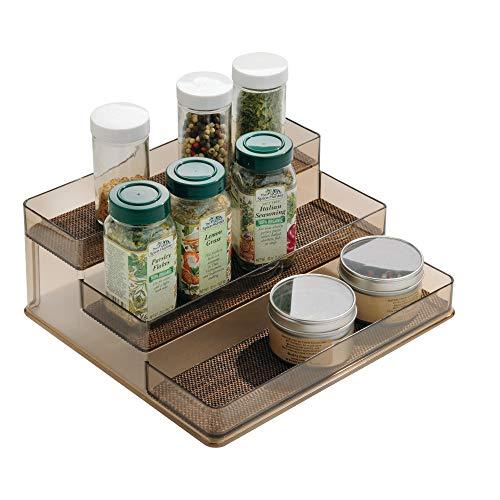 InterDesign Twillo Plastic Stadium Spice Rack, 3-Tier Organizer for Kitchen Pantry, Cabinet, Countertops, Vanity, Office, Craft Room, 9.2