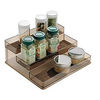 "iDesign Twillo Plastic Stadium Spice Rack, 3-Tier Organizer for Kitchen Pantry, Cabinet, Countertops, Vanity, Office, Craft Room, 9.2"" x 10"" x 4"", Bronze"
