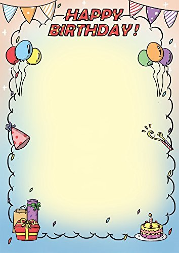 Birthday Party Invitation Stationary Paper 50ct Works on All Printers