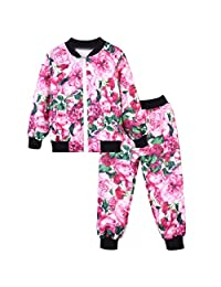 Baby Toddler Girls Kids Clothes Fall Winter Outfit Set 2-8 Years Old,2Pcs Floral Print Zipper Tops Coat and Pants