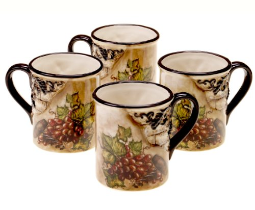 Certified International Tuscan View Mug, 16-Ounce, Set of (Hand Painted Coffee Cup)