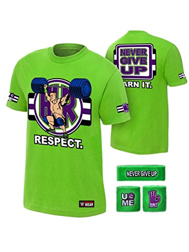 316744b5 John Cena WWE Respect Green T-Shirt Headband Wristbands Boys Juvy-YM