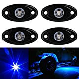 TUINCYN 4 pods Blue LED Rock Lights Waterproof Kit Neon Trail Rig Lights for Jeep ATV SUV Truck Boat Underbody Glow