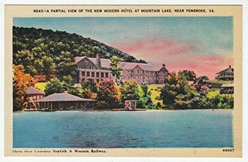 Mountain Lake, near Pembroke, Virginia Vintage Original Postcard #1230 - - Lake Pembroke