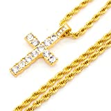 Mix&Match Men's Gold Plated Iced Out Micro Pave Cross Pendant Necklace, 24Inches