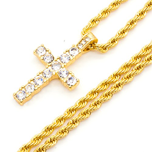 Mix&Match Men's Gold Plated Iced Out Micro Pave Cross Pendant Necklace, 24Inches (Gold/Rope (Micro Pave Mens Cross)