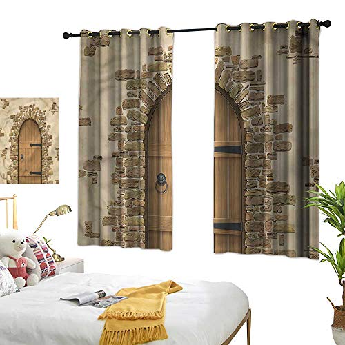 Warm Family Rustic Decor Curtains Wine Cellar Architecture Darkening and Thermal Insulating 55