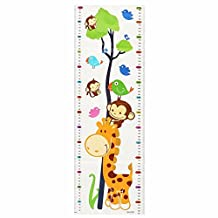Bazaar Cute Wall Decal Sticker Cartoon Giraffe Monkeys Growth Height Children Kids Chart