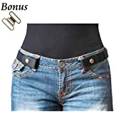 "No Buckle Stretch Belt For Women/Men Elastic Waist Belt Up to 33"" for Jeans Pants"