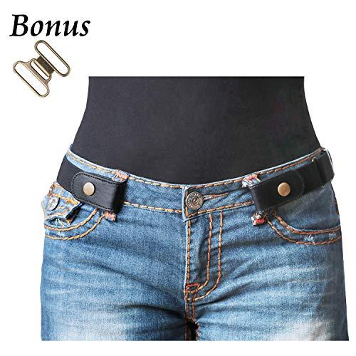 "No Buckle Stretch Belt For Women/Men Elastic Waist Belt Up to 48"" for Jeans Pants - Buckle Front Flat"