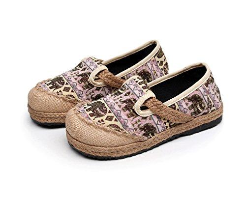 Ausom Womens Classic Handmade Anti-slip Little Elephant Pattern Canvas Slip on Fashion Espadrilles Loafer Flats Pink 7Njx2ueXjH