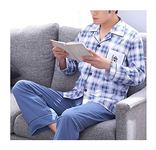 Femaroly Men Pajamas Top and Pant Set Cotton Long Sleeve Teen Student Sleepwear Lounge Nightdress 2 Piece Durable Comfort for Spring Summer and Autumn Mix Color09 X-Large ()