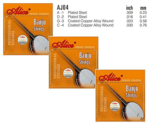 Coated Banjo (3 Packs Full Set Stainless Steel Coated Copper Alloy Wound 4-String Banjo Strings A D G C)