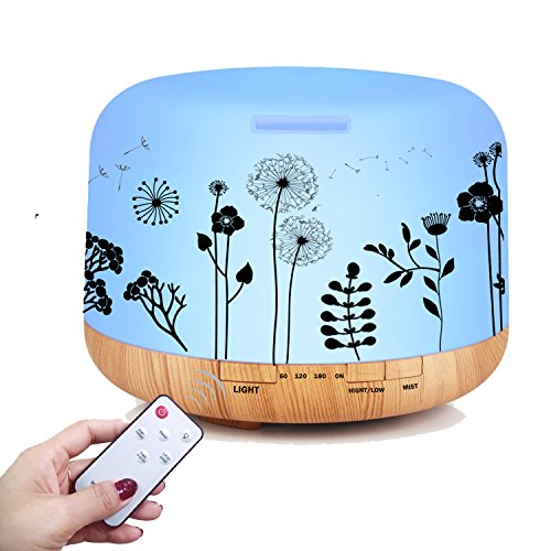Ledsniper Newest 500ML Essential Oil Diffuser Dandelion Printing Remote Control