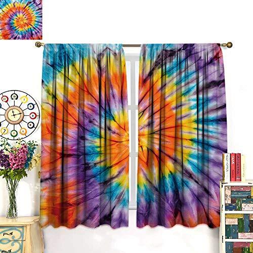 NineHuihome Rod Pocket Insulated Curtains Sleep Well Blackout Curtain for Living Room/Bedroom tie dye Fabri backgroun 55