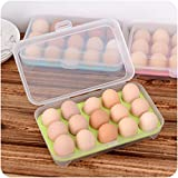 Kitchen Tool, ZTY66 Single Layer Refrigerator Food 15 Eggs Airtight Storage Container Plastic Box (Green)