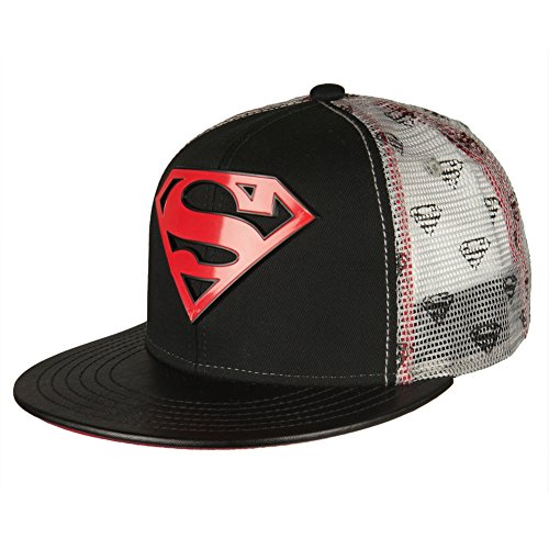 Superman Hats (Superman Men's 6 Panel Printed Mesh Trucker, Black/Red, One Size)