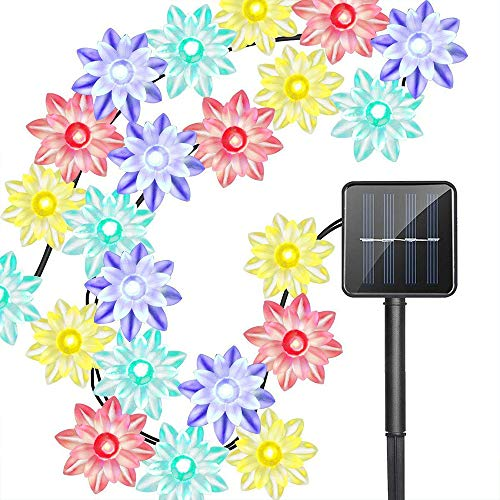 XIYU 4.8m Waterproof Solar Power Lotus Flower 50 LED String Lights Remote Control + Solar Powered Work Long Times 8h Fit for Christmas, Thanksgiving, Easter, Valentines,Birthday Party, Wedding Decor