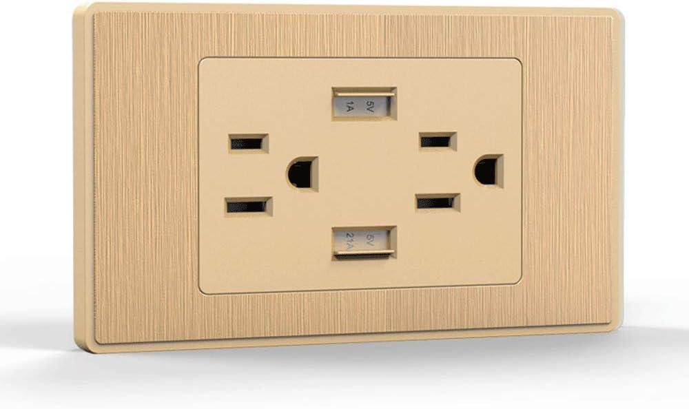 XHHWZB Salida de cargador USB de alta velocidad, cargador de pared USB, toma de corriente eléctrica con USB, receptáculo de 15 A TR, placa de pared sin tornillos, para iPhone X, iPhone 8/8 Plus, Galax