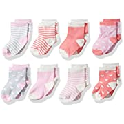 Hudson Baby Basic Socks, 8 Pack, Hearts/Stripes, 0-6 Months