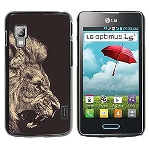 All Phone Most Case / Hard PC Metal piece Shell Slim Cover Protective Case Carcasa Funda Caso de protección para LG Optimus L5 II Dual E455 E460 lion sepia black white roar king fur
