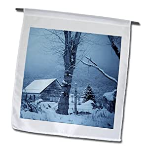 Jos Fauxtographee Home - An old home in Pine Valley, Utah in blue tones - 18 x 27 inch Garden Flag (fl_99813_2)