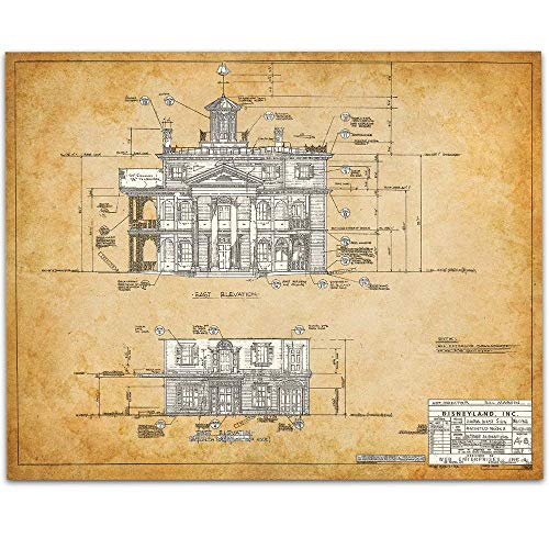 The Haunted Mansion Disneyland - East Side Blueprint - 11x14 Unframed Art Print - Great Gift Under $15 for Disney Fans -