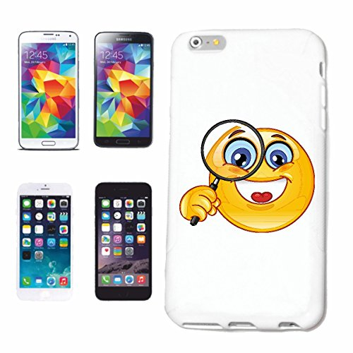 "cas de téléphone iPhone 7 ""MERRY SMILEY AVEC GRAND LUPE ""SMILEYS SMILIES ANDROID IPHONE EMOTICONS IOS grin VISAGE EMOTICON APP"" Hard Case Cover Téléphone Covers Smart Cover pour Apple iPhone en blanc"