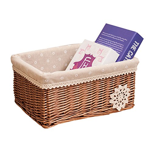 Aneil Woven Basket Wicker Natural with Liner Rattan Storage Box For Indoor Office Living Room Decorations (9x6.7x4.7 in) (D) ()