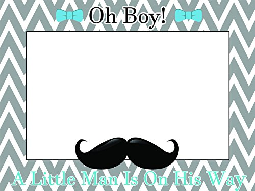 Custom Home Decor Little Man Baby Shower Photo Booth Prop - Sizes 36x24, 48x36; Personalized Social Media Style Baby Shower Photo Booth Frame, Bow, Mustache, baby boy; Handmade Nursery Decor (Little Man Decorations For Baby Shower)