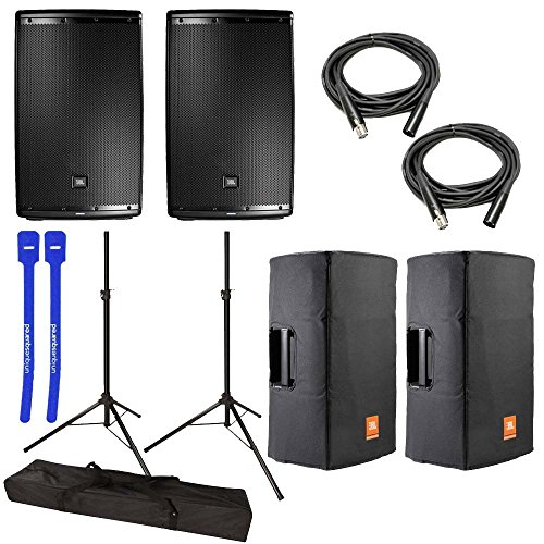JBL 2x EON615 15in Class D Two-Way Multipurpose Speaker - Bundle with 2x Pyle 6ft Tripod Speaker Stand, Gator Cases Speaker Stand Bag, 2x 25ft. Rean XLR3F to XLR3M Mic Cable, 2x Deluxe Padded Cover