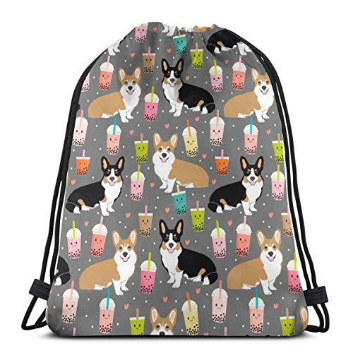 Corgi boba tea bubble tea kawaii food welsh corgis dog breed gifts Drawstring Backpack Gym Sackpack for Men & Women School Travel Bag