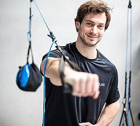 aeroSling ELITE Plus (Modelo 2017) – Profesional de Sling Trainer con Polea, anclaje para puertas, online de DVD, póster – Azul Principal cuerda