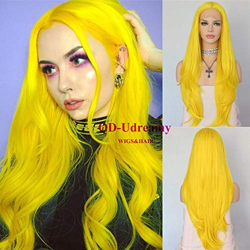 QD-Udreamy Sexy Yellow Heat Resistant Hair Synthetic Lace Front Wigs Hair Replacement Wigs -