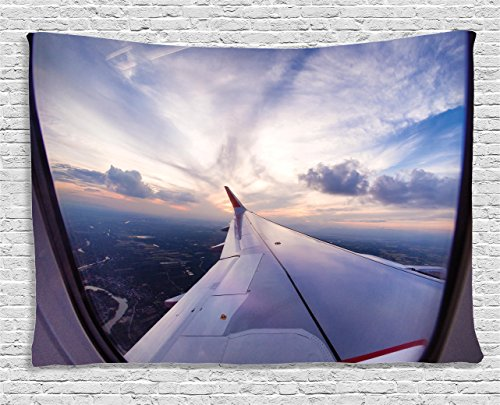 Ambesonne Airplane Decor Collection, Airplane Travel Time Is Sunset Business