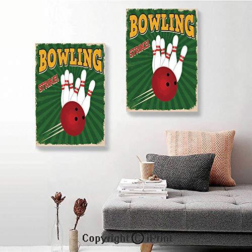 SfeatruRWF Canvas murals,Bowling Balls and Pins Design Western Sport Hobby Leisure Winner Artsy Art Print,16