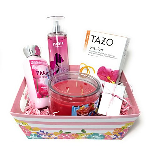 Mother's Day Gift Set - Pamper Her with Bath & Body Works Paris Amour Body Lotion & Frag. Mist, Tazo Passion Tea, Eiffel Tower Charm, Sweet Sangria Candle with Gift Packaging … (White Pink Floral)