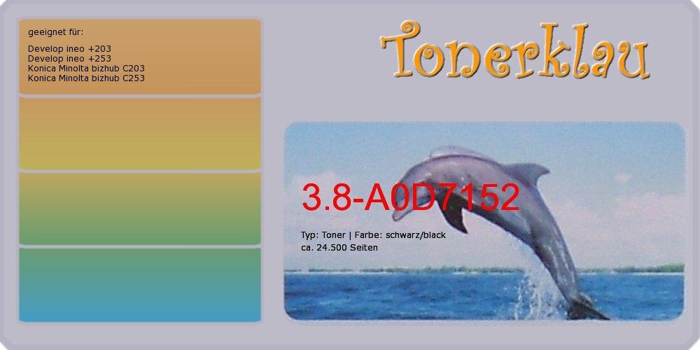 Toner kompatibel zu Konica Minolta A0D7152, TN-213K, Farbe  schwarz, kompatibler Toner 3.8-A0D7152, geeignet für  bizhub C203 bizhub C253 ineo +203 ineo +2